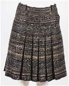 CHANEL BLACK  BROWN PLEATED SKIRT