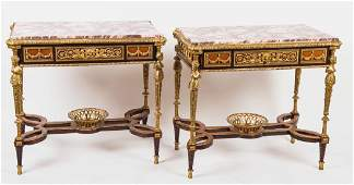 PAIR OF LOUIS XVI STYLE MARBLE TOP TABLES