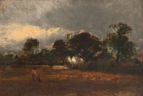 """ATTRIBUTED TO JOHN CONSTABLE: """"FIGURES IN A LANDSCAPE"""""""