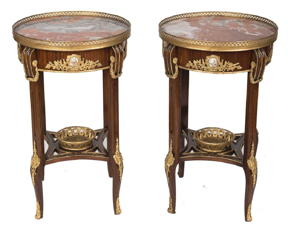 PAIR OF FRENCH STYLE GALLERY RIM NIGHTSTANDS