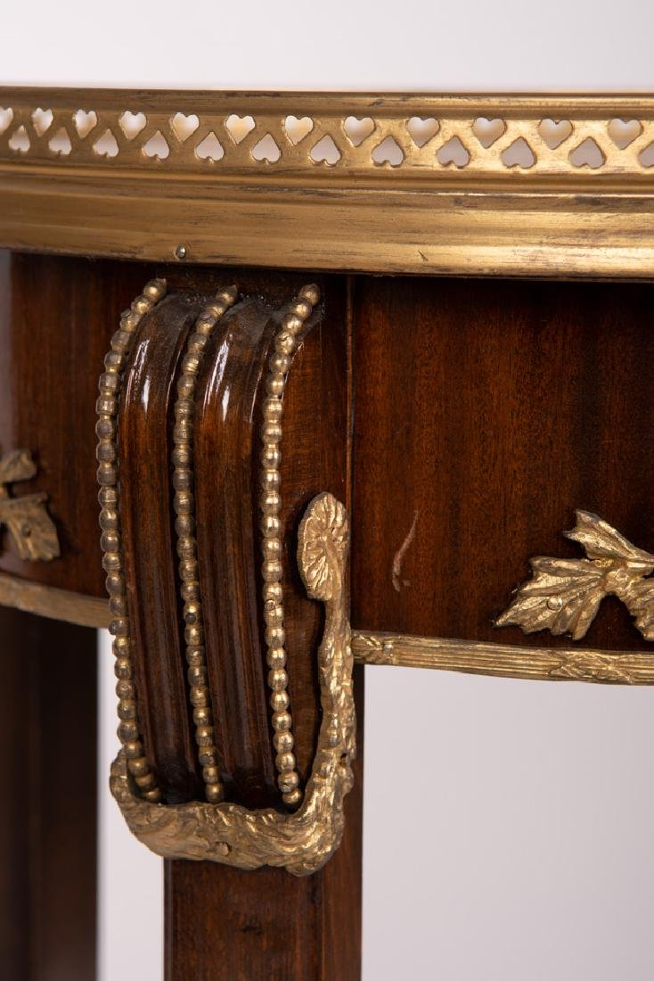 PAIR OF FRENCH STYLE GALLERY RIM NIGHTSTANDS - 3