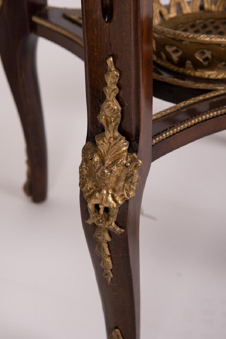 PAIR OF FRENCH STYLE GALLERY RIM NIGHTSTANDS - 4