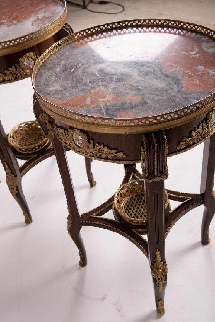 PAIR OF FRENCH STYLE GALLERY RIM NIGHTSTANDS - 9