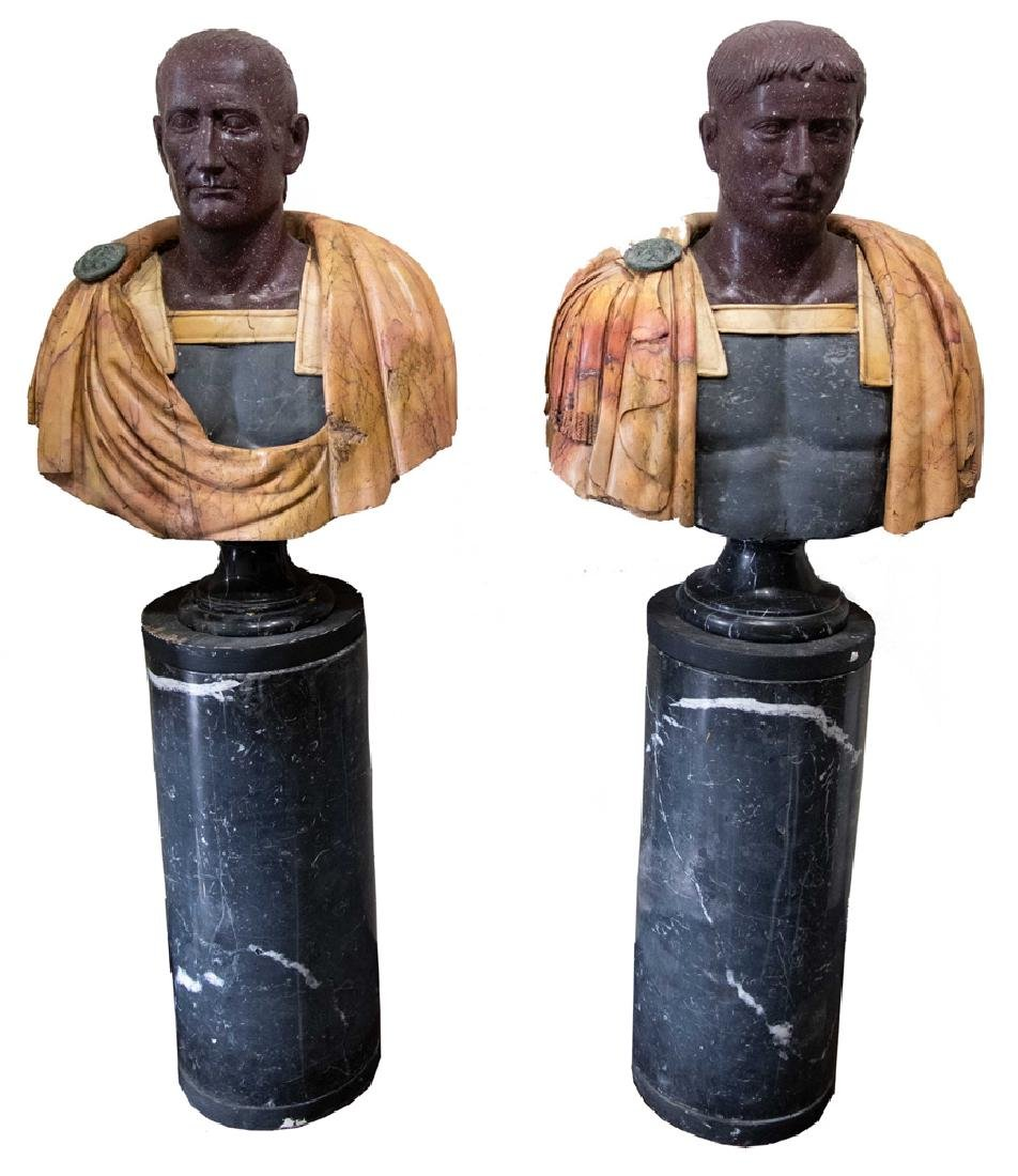 PAIR OF CARVED MARBLE EMPERORS