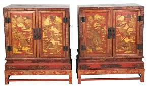 PAIR OF CHINESE LACQUERED CABINETS ON STAND