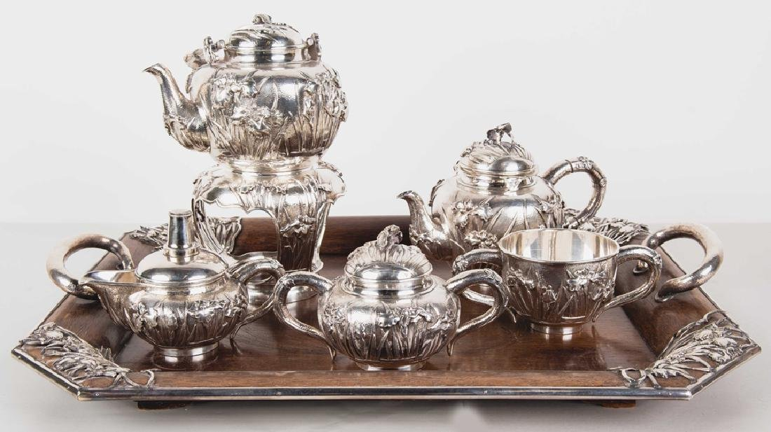 CHINESE FIVE PIECE SILVER TEA SET & TRAY