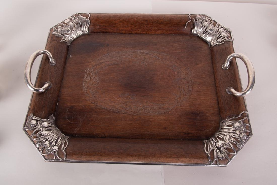 CHINESE FIVE PIECE SILVER TEA SET & TRAY - 3