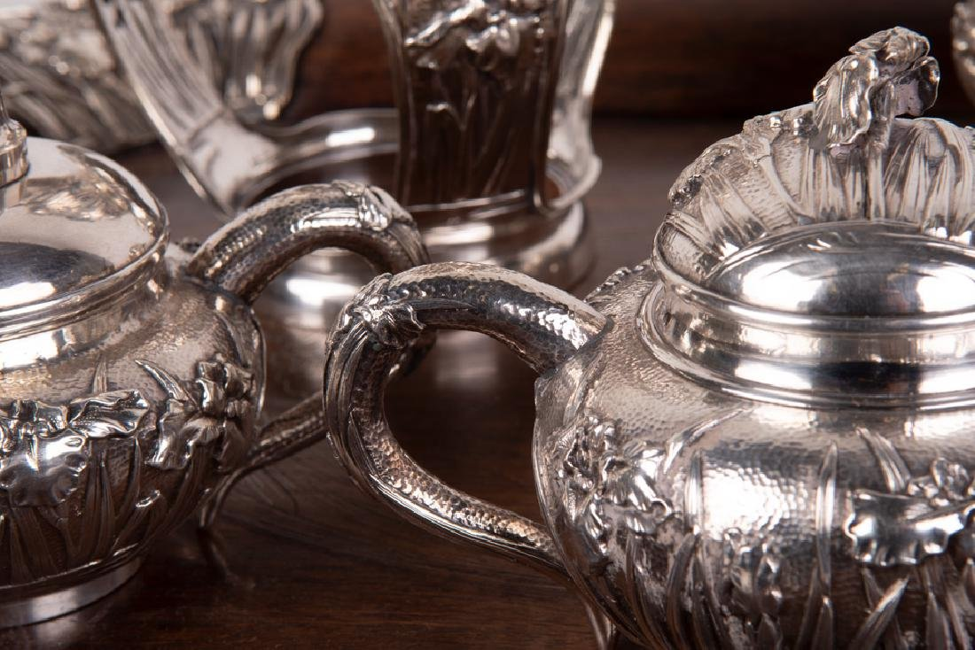 CHINESE FIVE PIECE SILVER TEA SET & TRAY - 5