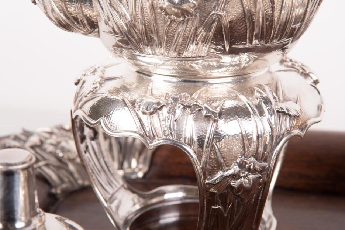CHINESE FIVE PIECE SILVER TEA SET & TRAY - 9