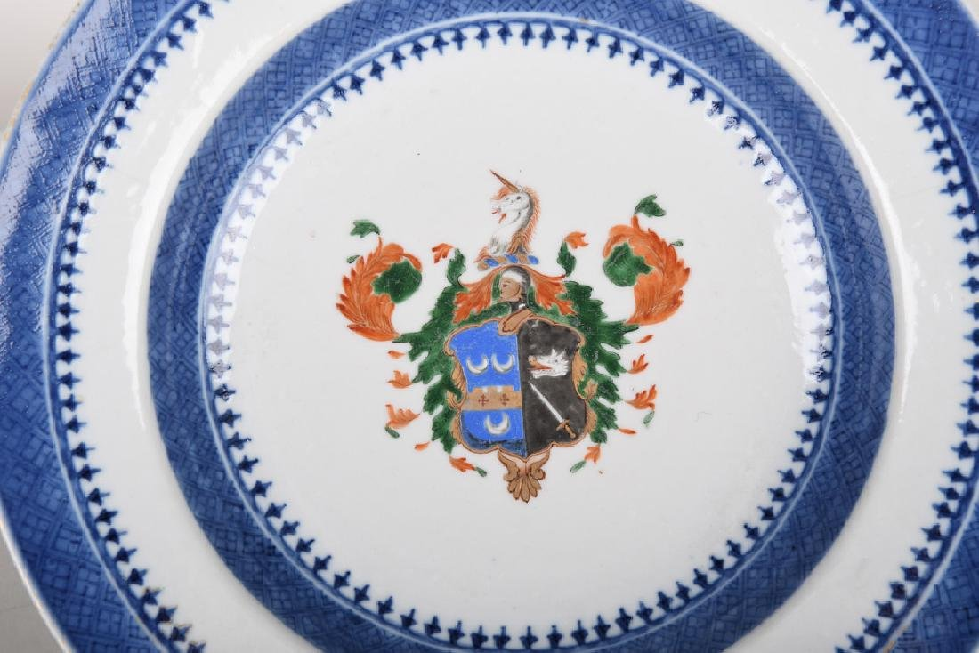 PAIR OF CHINESE EXPORT PORCELAIN ARMORIAL SOUP PLATES - 5