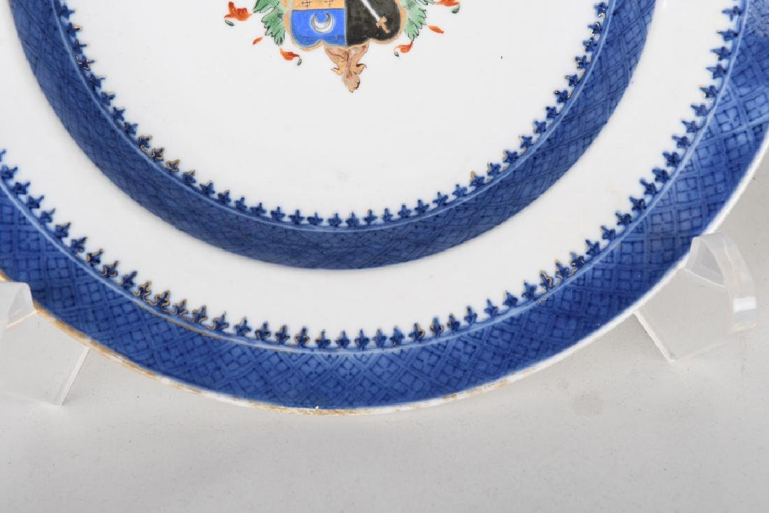 PAIR OF CHINESE EXPORT PORCELAIN ARMORIAL SOUP PLATES - 6
