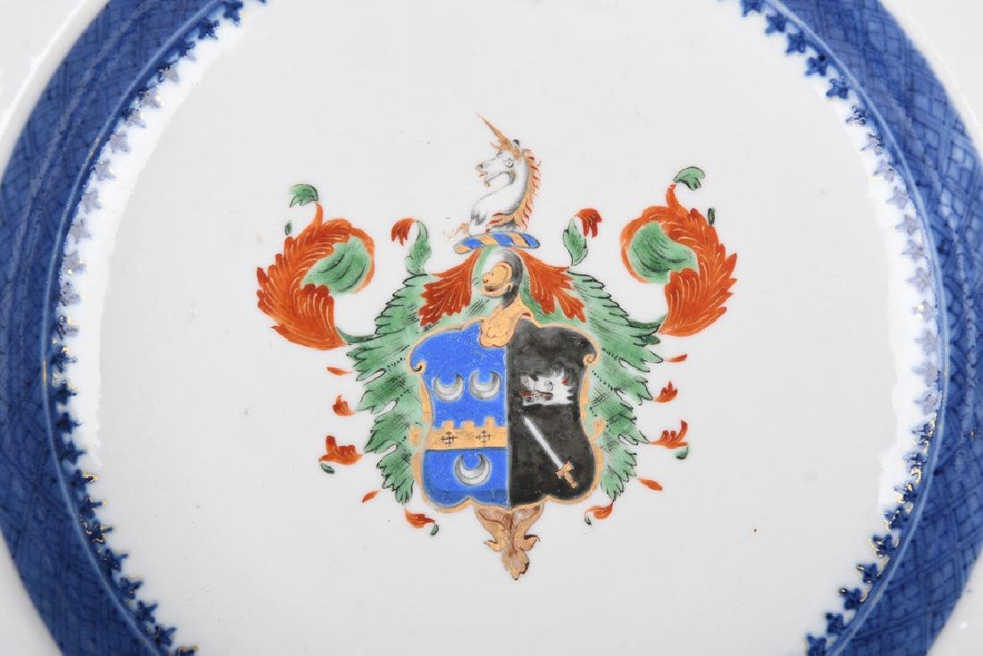 PAIR OF CHINESE EXPORT PORCELAIN ARMORIAL SOUP PLATES - 7