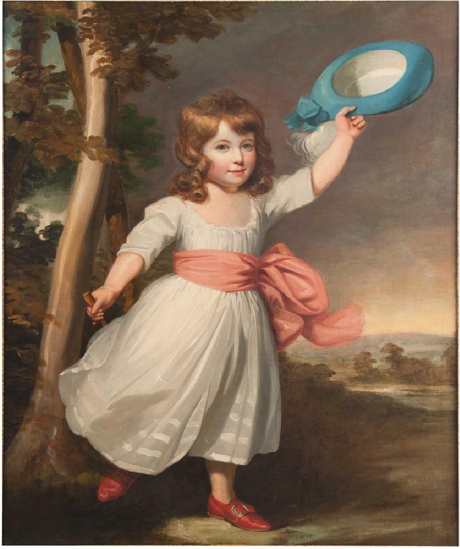 """SCHOOL OF WILLIAM BEECHEY: """"GIRL WITH BLUE HAT"""""""