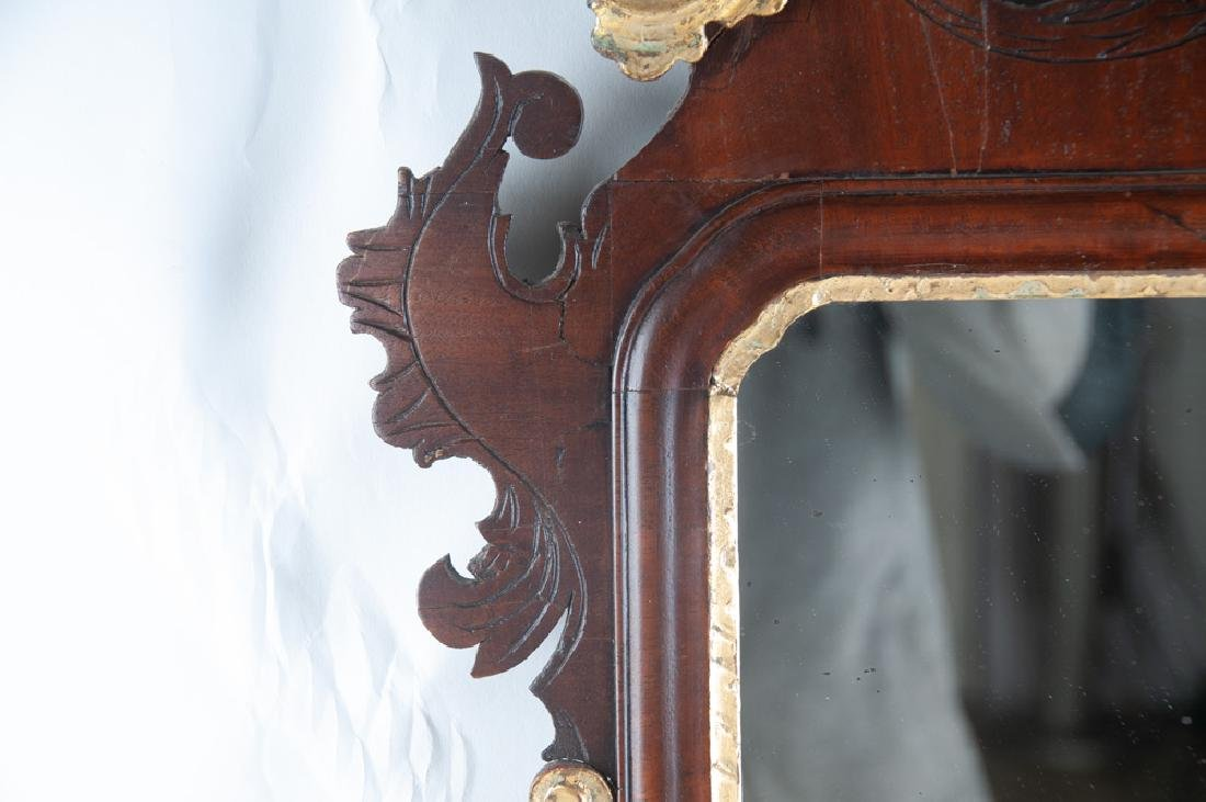 AMERICAN CHIPPENDALE MAHOGANY & GILDED MIRROR - 10