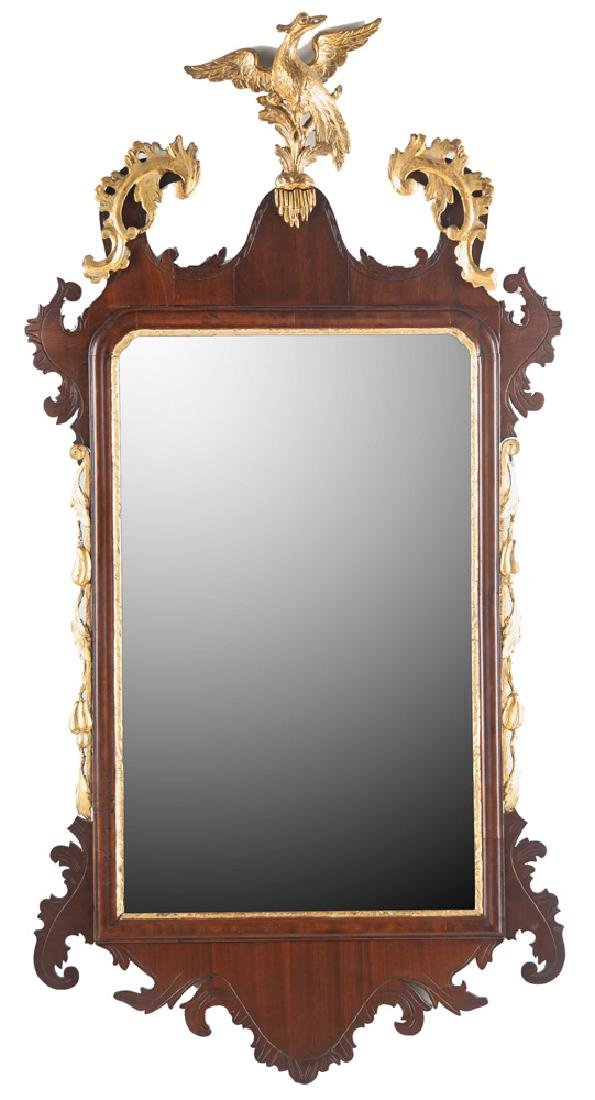 AMERICAN CHIPPENDALE MAHOGANY & GILDED MIRROR