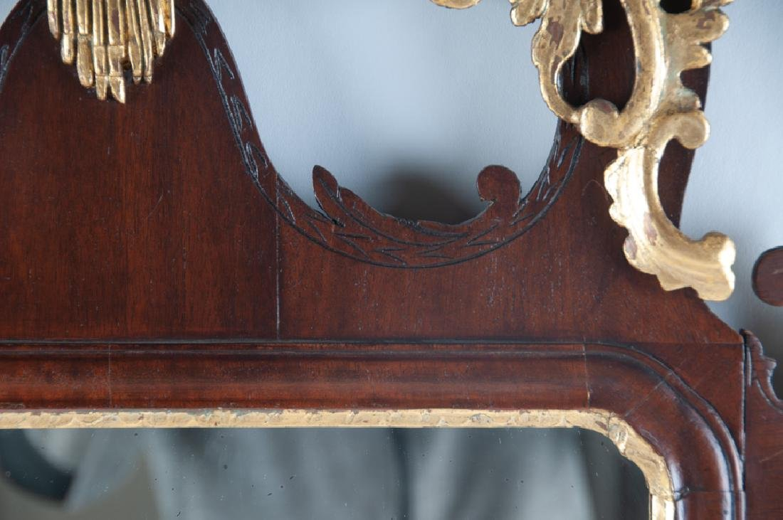 AMERICAN CHIPPENDALE MAHOGANY & GILDED MIRROR - 3