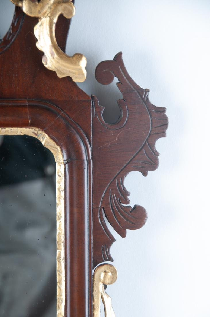 AMERICAN CHIPPENDALE MAHOGANY & GILDED MIRROR - 5