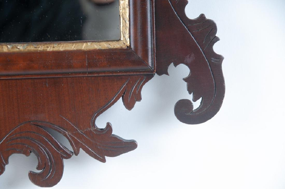 AMERICAN CHIPPENDALE MAHOGANY & GILDED MIRROR - 6