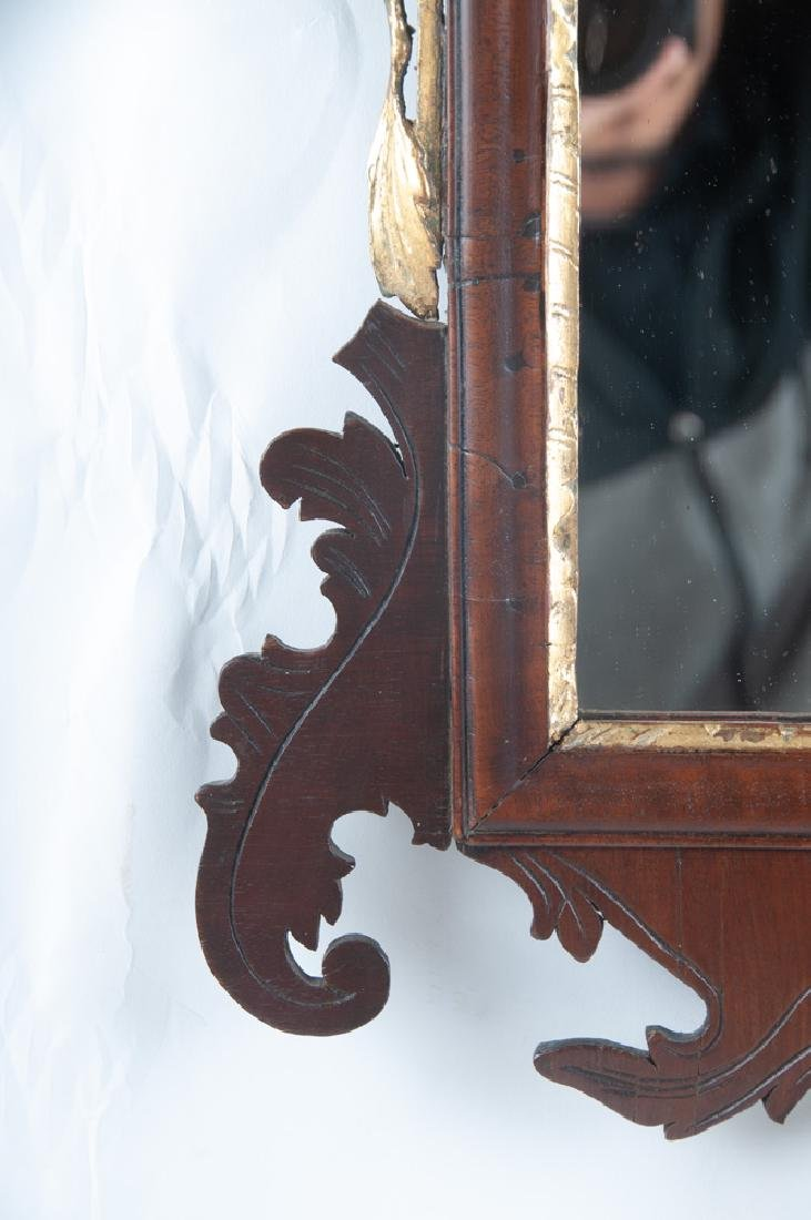 AMERICAN CHIPPENDALE MAHOGANY & GILDED MIRROR - 8
