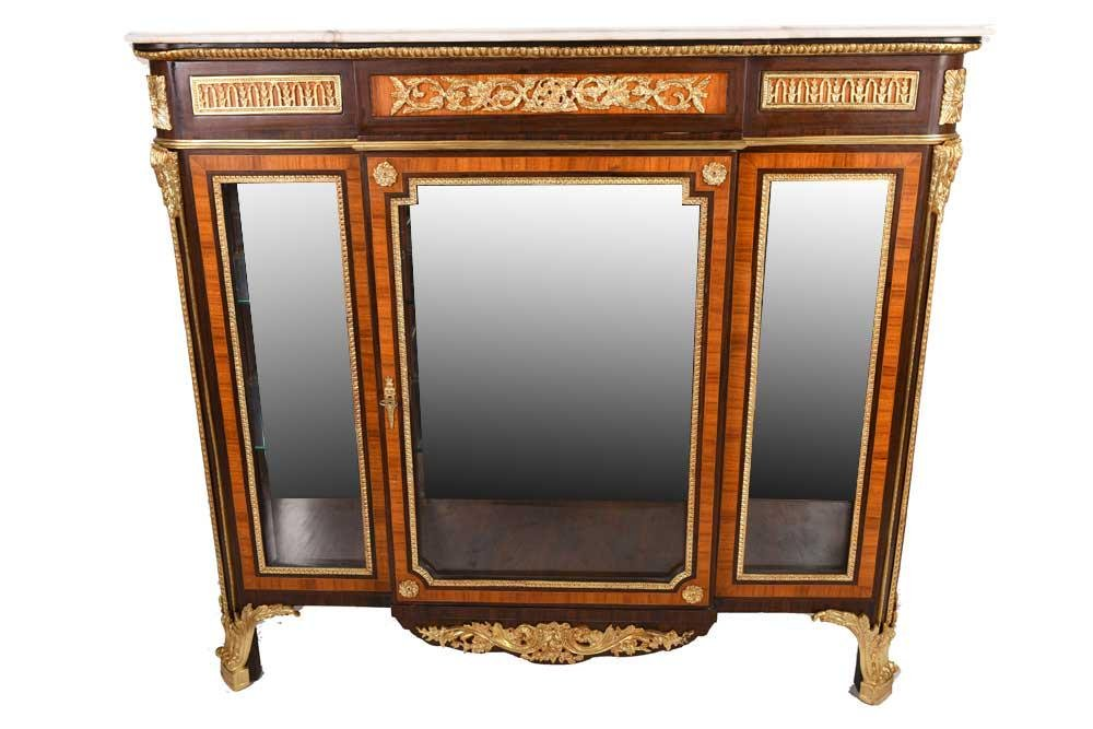 LOUIS XV STYLE GILT BRONZE MOUNTED & MARBLE TOP