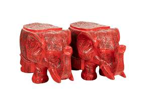 PAIR OF CHINESE CINNABAR STYLE LACQUERED ELEPHANTS