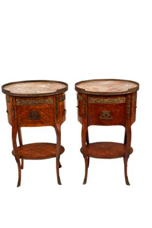 PAIR OF FRENCH PARQUETRY MARBLE TOP TABLES