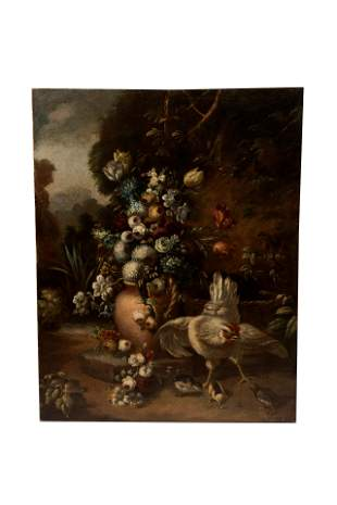 DUTCH SCHOOL STILL LIFE WITH ROOSTER CHICKS