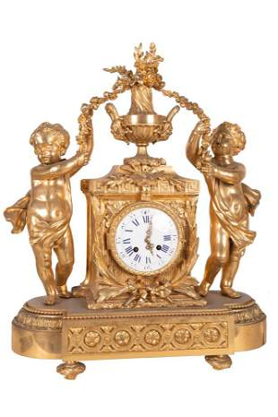 FRENCH STYLE GILT BRONZE FIGURAL MANTLE CLOCK