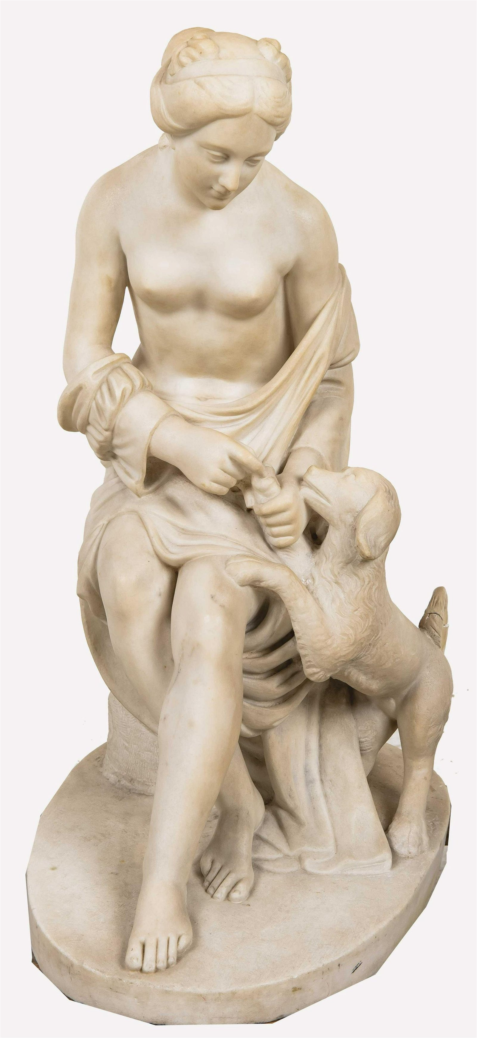 ITALIAN CARVED MARBLE FIGURE OF A WOMAN & DOG