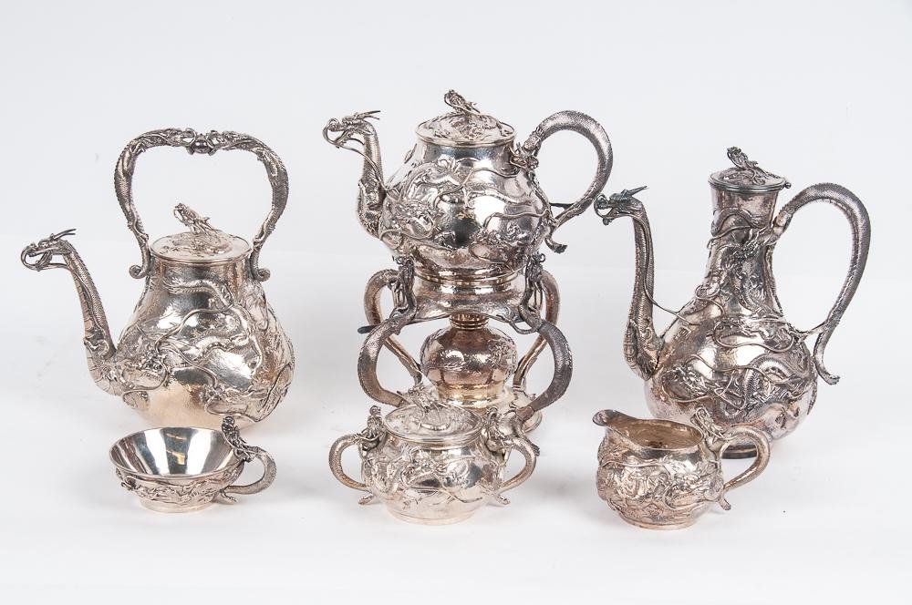 JAPANESE STERLING SILVER SIX-PIECE DRAGON TEA & COFFEE