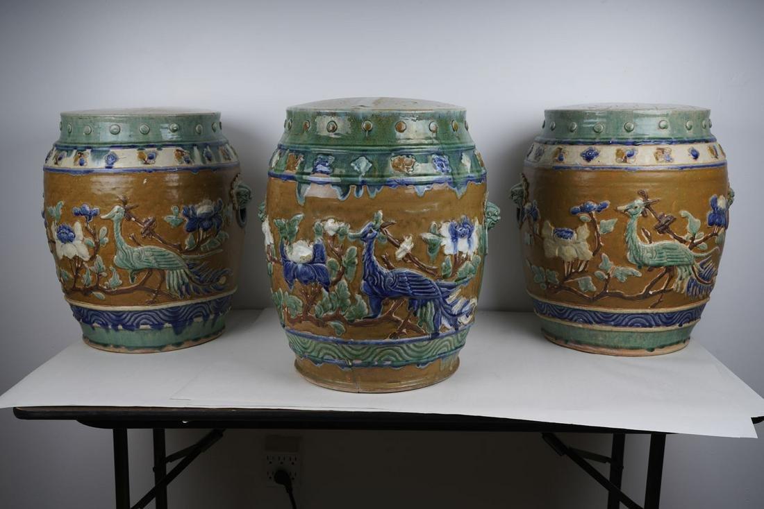 SET OF THREE CHINESE GLAZED EARTHENWARE GARDEN STOOLS