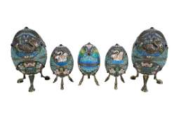 SET OF RUSSIAN SILVER CLOISONNE ENAMEL EGGS