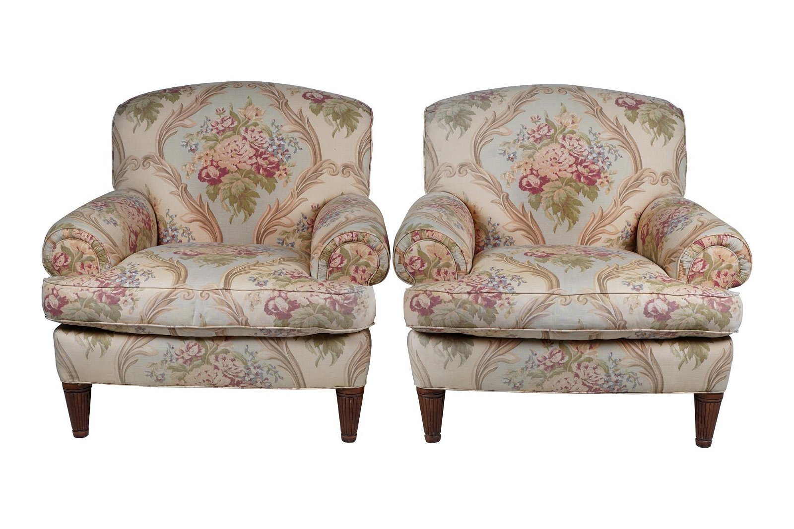 PAIR OF RALPH LAUREN UPHOLSTERED CLUB CHAIRS