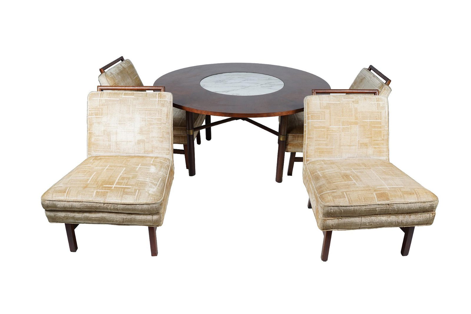 WILLIAM HAINES STYLE ROUND GAME TABLE WITH FOUR CHAIRS