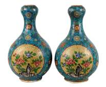 PAIR OF CHINESE OVAL CLOISONNE  PORCELAIN VASES