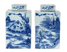 PAIR OF CHINESE BLUE  WHITE COVERED PORCELAIN TEA