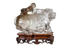 CHINESE ROCK CRYSTAL CARVED WATER BUFFALO