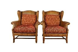 PAIR OF BAKER MILLING ROAD WICKER WING CHAIRS