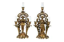 PAIR FRENCH GILT BRONZE CANDELABRA AFTER ORMETH