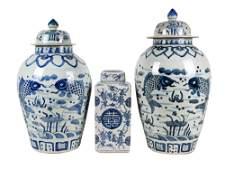 THREE CHINESE BLUE  WHITE PORCELAIN JARS