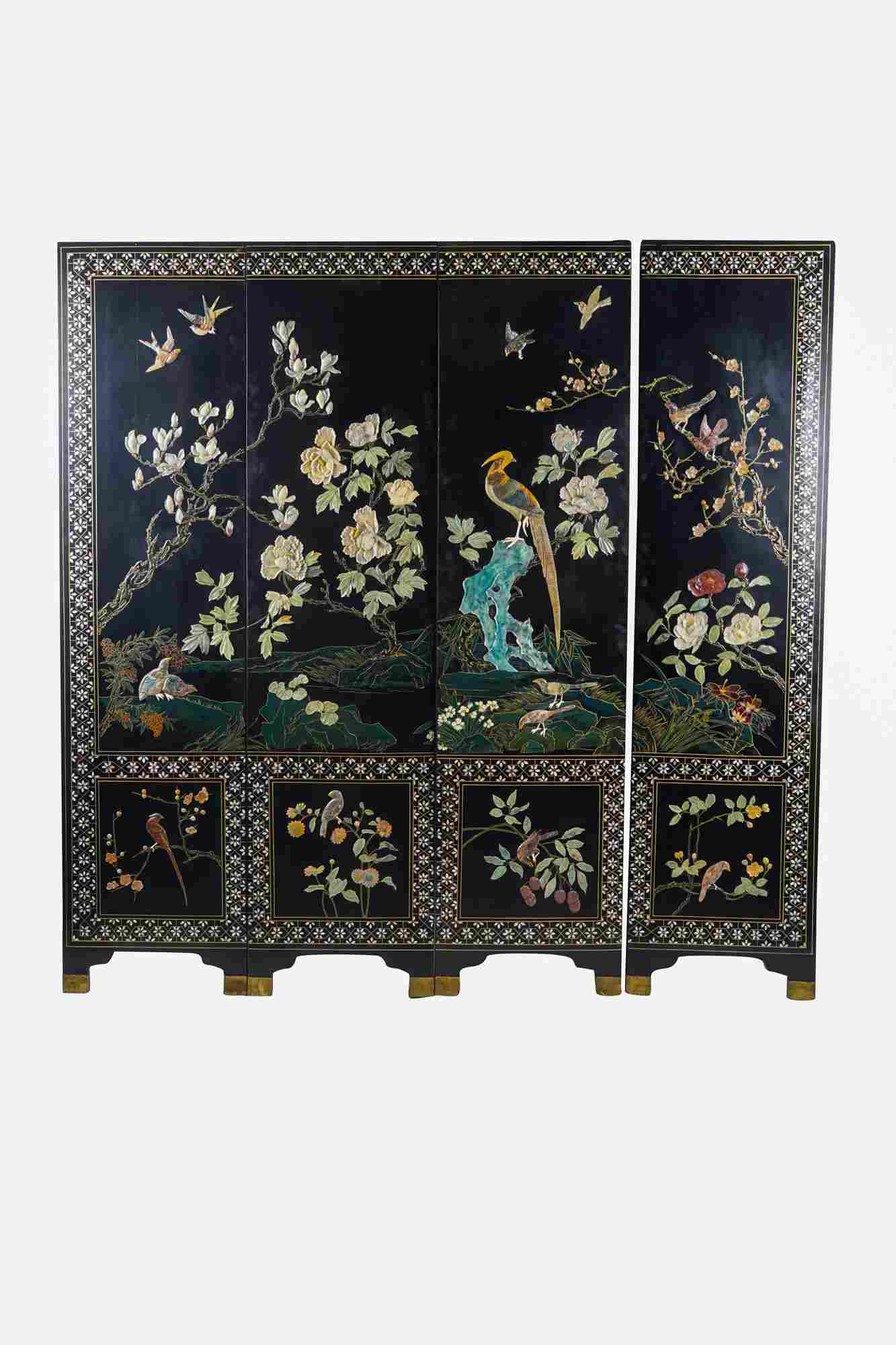 FOUR-PANEL CHINESE HARDSTONE SCREEN
