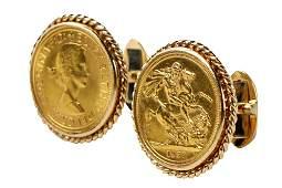 PAIR OF 18 KARAT YELLOW GOLD COIN CUFFLINKS