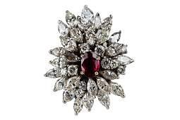 18 KARAT WHITE GOLD, DIAMOND, & RUBY CLUSTER RING