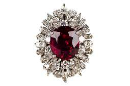 18 KARAT WHITE GOLD, DIAMOND, & RUBELLITE TOURMALINE