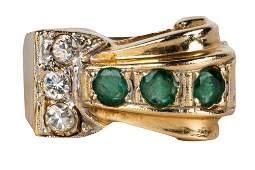 RETRO ERA 14 KARAT YELLOW GOLD, DIAMOND, & EMERALD RING
