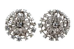PAIR OF CARTIER PLATINUM & DIAMOND CLUSTER EARRINGS