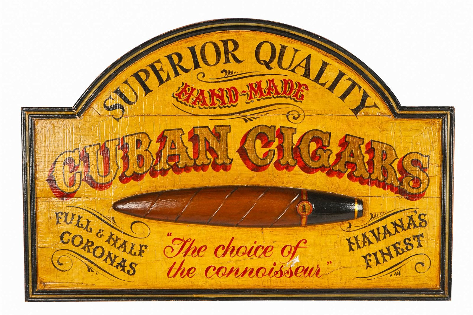 'CUBAN CIGARS' PAINTED WOOD SIGN