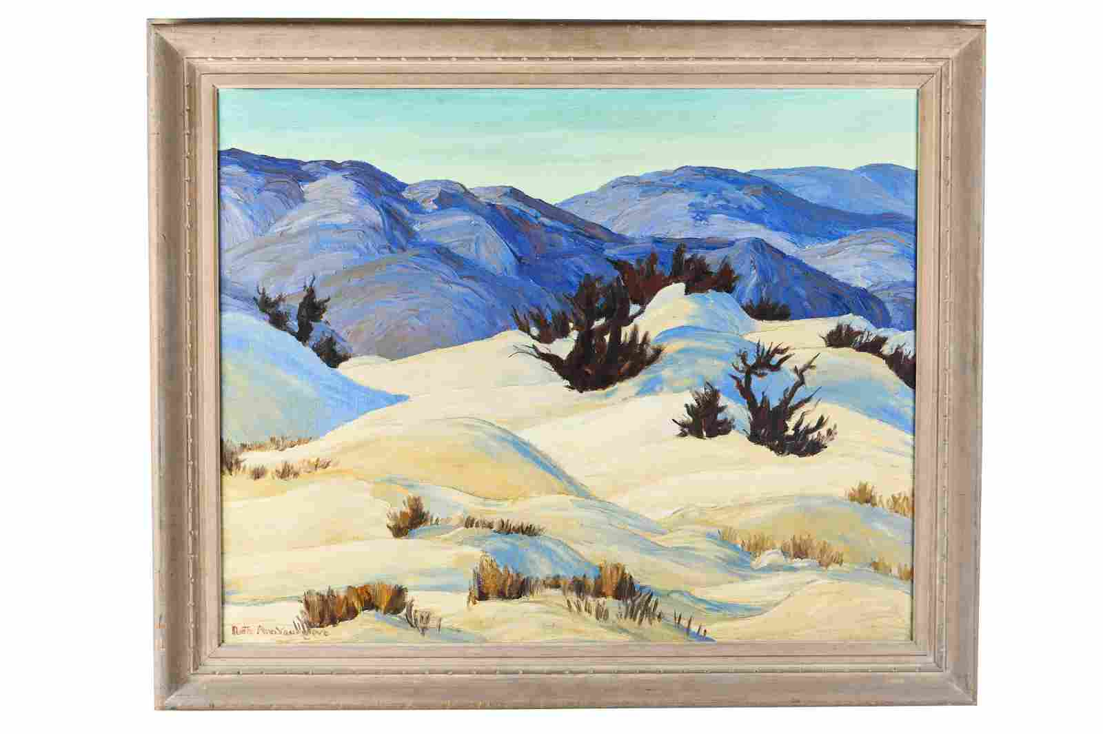 """RUTH YOUNGLOVE: MOUNTAIN LANDSCAPE PAINTING """"DEATH"""