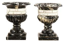 PAIR OF ITALIAN MARBLE FLUTED URNS