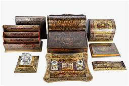 FRENCH BOULLE STYLE INLAID DESK SET